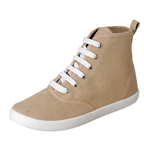 Breckelles Women Cooper 15 Canvas Hi Top Sneaker Beige