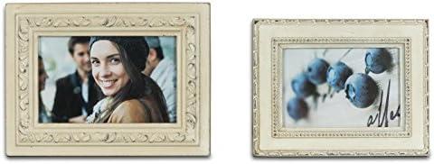 Juego de 2 marcos de fotograf/ías estilo barroco vintage y retro color crema