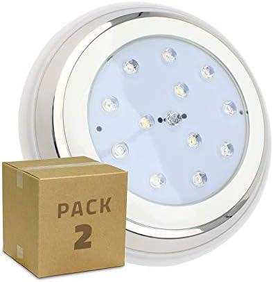 Pack Foco Piscina LED Inox Superficie 24W (2 un) Blanco Cálido 3000K