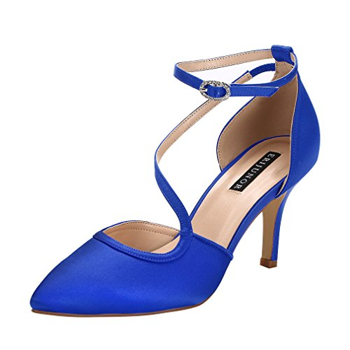 ERIJUNOR E1706 Women Comfortable Mid Heel Ankle Strappy Dress Pumps Pointed Toe Satin Wedding Evening Party Shoes Blue Size 11