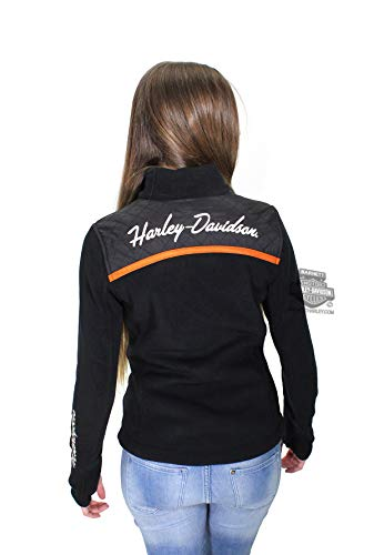 Harley-Davidson Womens Miss Enthusiast B&S Mock Neck Fleece Black Casual Jacket 98585-17VW (2 Wide)