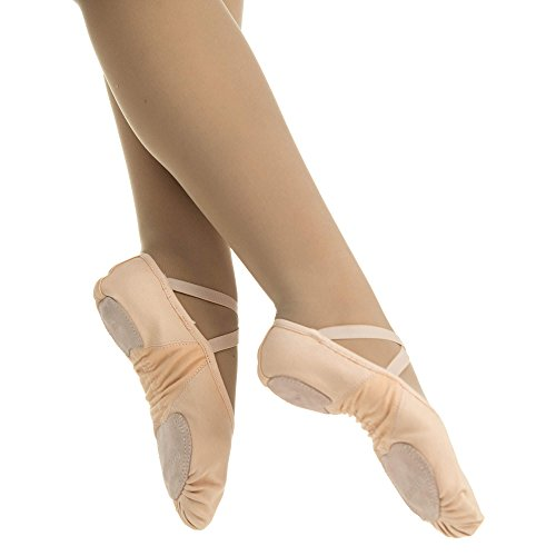 Pantofola Balletto Rosa Danzcue Adulto Stretch Canvas Suola Divisa