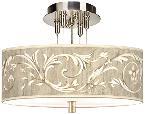 - Zona Country Cottage Ceiling Light Semi Flush Mount Fixture Brushed Nickel 14
