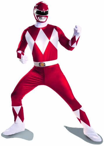 [Disguise Sabans Mighty Morphin Power Rangers Red Ranger Super Deluxe Mens Adult Costume, Red/White,] (White Ranger Adult Costumes)