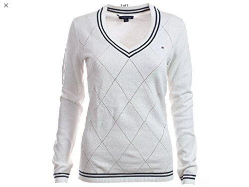 Tommy Hilfiger Damen Pullover, Women's V-Neck Diamond Knit Sweater, X-Large