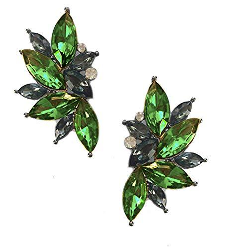 (Art Deco Antique Vintage Style Peridot Army Green Emerald Rhinestone Cluster Earrings)