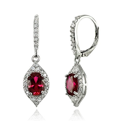 LOVVE Sterling Silver Created Ruby & White Topaz Oval Dangle Earrings