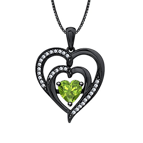 SVC-JEWELS Valentine's Day Love Gift Double Heart Colors in Pendant Necklace Heart Shaped Lab-Created Peridot & Diamond 14K Black Gold Plated