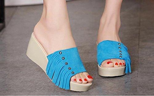 SSBY Hembra Tassel Verano Pendiente Con Fondo Grueso Una Fuente Muffin Moda Desgaste Con Sandalias De Esmerilado Sky blue