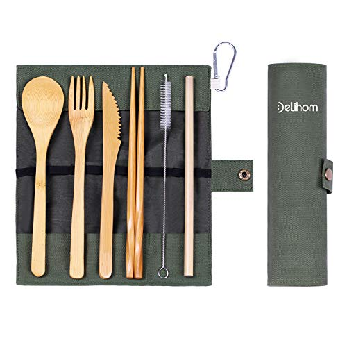 Delihom Bamboo Travel Cutlery Set, Eco Friendly Camping Flatware with Straw, Organic Bamboo Utensils with Cotton Pouch for Camping, Picnic, Office and School Lunch