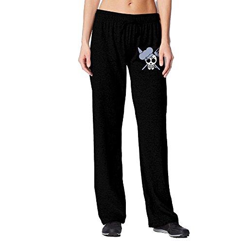 BakeOnion Women's Sanji Skull Yoga Workout Pants L Black