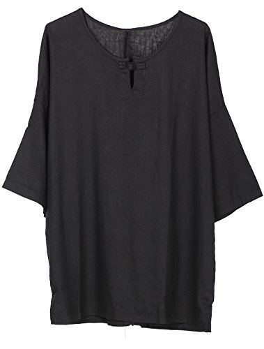 (Minibee Women's Elbow Sleeve Linen Tunic Tops Solid Color Retro Blouse Black L)