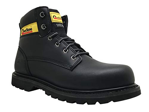 Overstone Men's 6 Inch Leather Work Boots, Steal Toe, Anti-Static, Puncture Resistant Protection, Industrial and Construction Work Boots (10, Black)