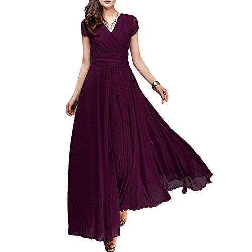 Solid Chiffon V-Neck Cocktail Bridesmaid Evening Party Gown Ball Prom Long Maxi Swing Dress Deep Purple M ()