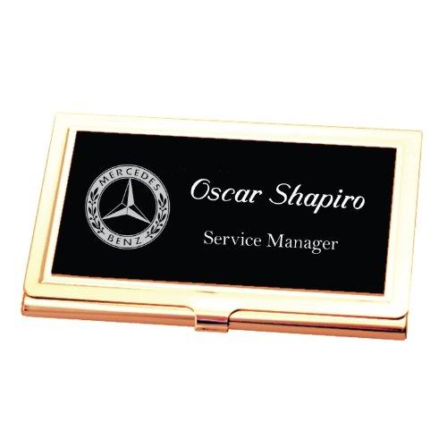 Personalized Black & Gold Business Card Case Holder Engraved (Black Leatherette Card Case)