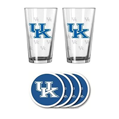NCAA Kentucky - Satin Etched Pint Glasses & Beverage Coasters Set | UK Wildcats Beverage Set