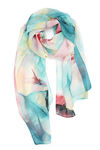 (YOUR SMILE Ladies/Women's Lightweight Floral Print/Solid Color mixture Shawl Scarf For Spring Summer season (Oil Painting/Teal))