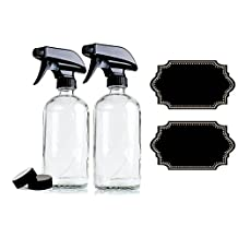 2-Pack - Empty Clear Glass Spray Bottle Plus Labels - Large 16 oz, 480 ml Refillable Container – Eco-Friendly- for Essential Oils, Homemade Cleaning Products, Organic Beauty Treatments or Cooking Oils - Durable Black Trigger Sprayer w/ Mist and Stream Nozzle Settings
