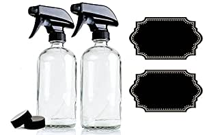 Large 16 oz Clear Glass Spray Bottles with Chalkboard Labels (2 Pack), BPA-Free for Essential Oils, Aromatherapy and Natural Cleaning Products. Heavy Duty Fine Mist Spray and Stream Trigger Sprayers