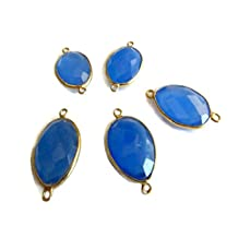 5 Pcs Blue Chalcedony Jewelry Connectors,925 Sterling Silver Vermeil Gold Connectors,Bezel Gemstone