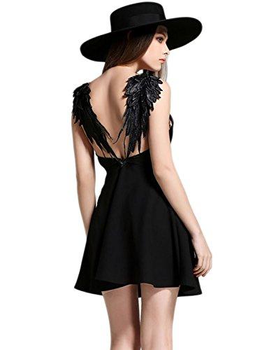 PERSUN Women's Black Skater Dress Plunge V-Neck Angel Wing Open Back Party Beach Mini Sundress,Small