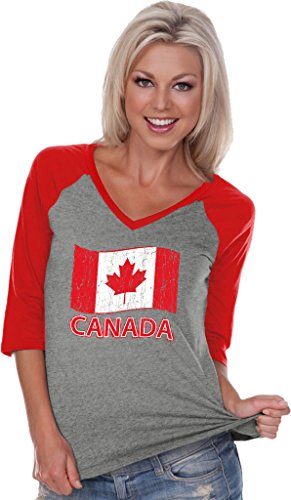 Ladies Distressed Canada Flag V-neck Raglan, Grey/Red, 2XL (Canada Merchandise)