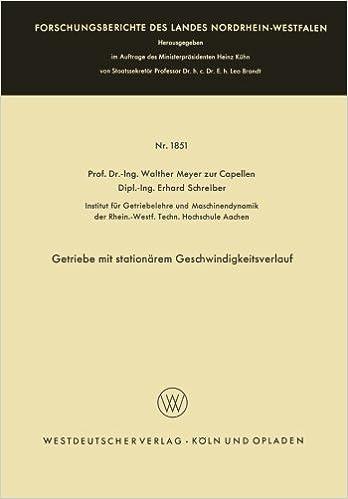 Book Getriebe mit stationärem Geschwindigkeitsverlauf (Forschungsberichte des Landes Nordrhein-Westfalen) (German Edition)