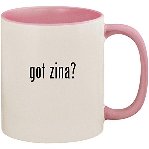 got zina? - 11oz Ceramic Colored Inside and Handle Coffee Mug Cup, Pink ()
