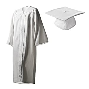 Amazon.com: Matte White Graduation Cap and Gown Set in Multiple ...