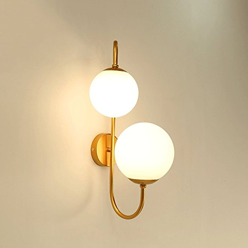 Baycher Modern Simple Double Heads Iron Round Glass Lampshade Wall Sconce Light Living Room Art Restaurant Bedside Aisle Barn Warehouse Wall Lamp (Color : Aged Brass) (Wall Double Sconce Transitional)