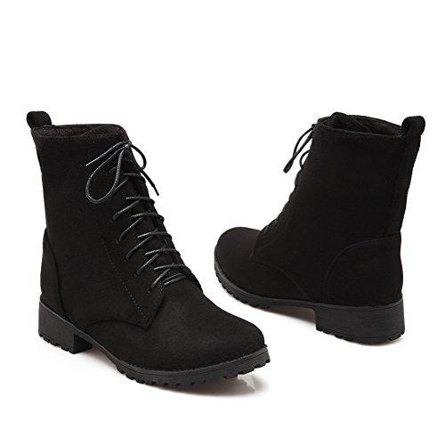 Lucksender Womens Fashion Round Toe Low Heel Lace Up Martin Boots Black 409ksn