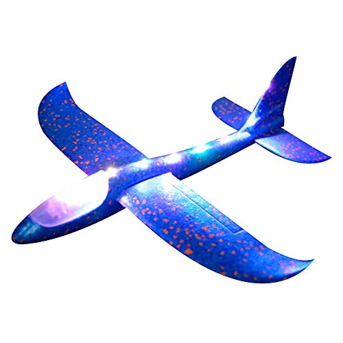 Foam Throwing Glider Airplane Inertia LED Aircraft Toy Hand Launch Airplane Model Aeroplane Throwing Plane LED Gliders DIY Aircraft Intelligence Toys For Adults Kids (Blue) ()