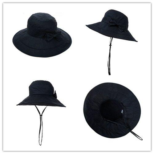 Siggi Womens Summer Bucket Boonie UPF 50+ Wide Brim Sun Hat Cord Cap Beach Accessories Navy, OS