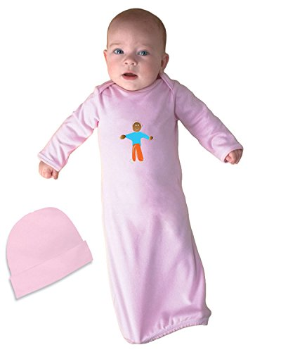 Price comparison product image African American Greeting Infant Baby Rib Layette Sleeping Gown & Hat Set Soft Pink