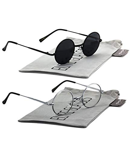 John Lennon Hipster Fashion Sunglasses Small Metal Round Circle Elton Style (2 PACK: Black and Silver Clear, 40)