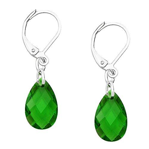 Earring Leverback High Polished Rhodium Green ()