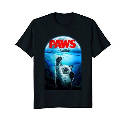 Siamese Cat Cat (Mens T-Shirt, Siamese Cat as Monster from Deep Terrorize Ship 3XL Black)
