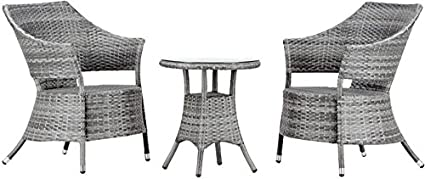 Virasat Garden Furniture/Balcony Furniture Set of Synthetic Fiber for Outdoor/Indoor Use 1 Table with 2 Chairs/Color-Grey