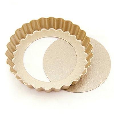 LOHOME® Quiche Pan, Bakeware Nonstick Tart/Quiche Pans Cupcakes Torte Souffle Cheesecake Egg Tart Makers Cake Molds Baking Molds Gourmet Bakeware Sets (4 Inch Round Tart/Set of 5 PCS)