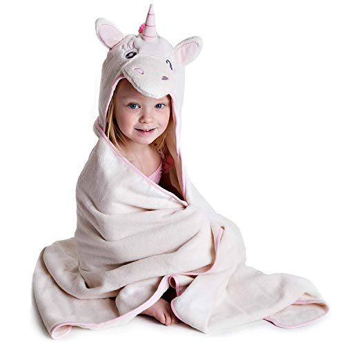 Little Tinkers World Premium Hooded Towel for Kids | Unicorn Design | Ultra Soft and Extra Large | 100% Cotton Bath Towel with Hood for Girls (Kids Bath Towels Hooded)