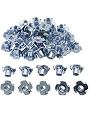 """DGQ 1/4""""-20 T-Nuts Zinc Coated 4 Pronged 100 Pcs Wood Tee Blind Nut for Cabinetry, Rock Climbing Walls, Woodworking"""