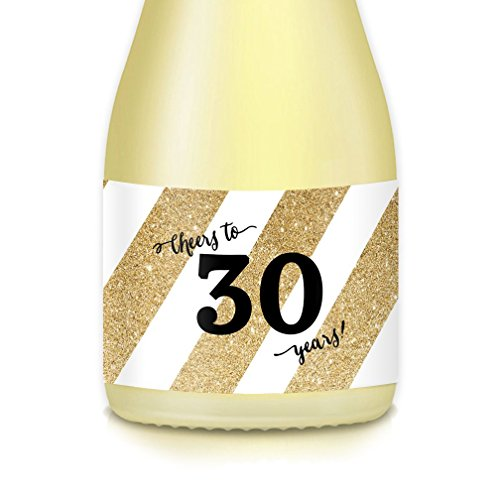 30th Birthday or Thirtieth Wedding Anniversary Party Ideas, Supplies, Decorations, Set of 20 Gold Mini Champagne or Wine Bottle Labels, Woman Celebrating 30 Years Old, Couple Married Thirty -
