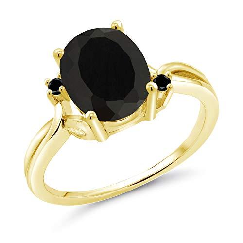 18K Gold Plated Oval Cabochon Black Onyx Stone Womens Fashion Statement Ring