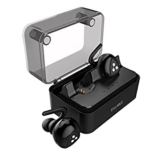 Wireless Headphones Syllable In Ear Bluetooth Headphones, TWS Truly Wireless Earbuds Noise Cancelling Running Headphones with Built-in Mic and Charging Case, Support Siri. Black