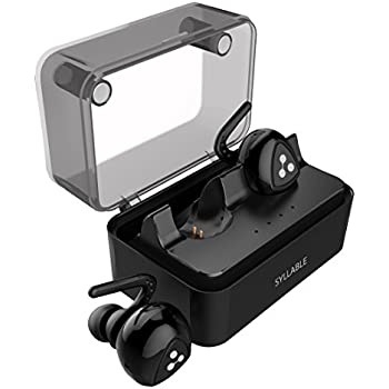 Wireless Bluetooth Headphones, SYLLABLE In Ear Headphones Mini Bluetooth Earbuds V4.1 with Built-in Mic and Charging Case for iPhone Samsung and Most Android Phones, Support Siri (Black)
