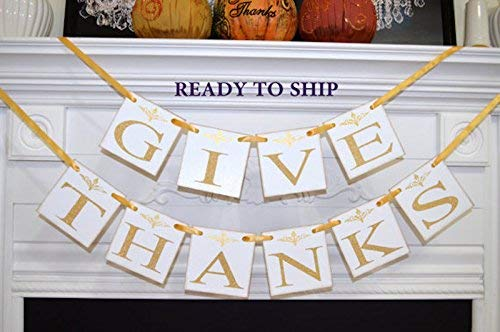 (Give Thanks Banner, Thanksgiving Banner, Thankful Garland, Thanksgiving Decor, Thanksgiving Decoration, Fall Decor, Fall Banners)