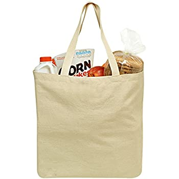 Amazon.com: 3 Pack Natural Cotton Canvas Compostable Grocery Totes ...