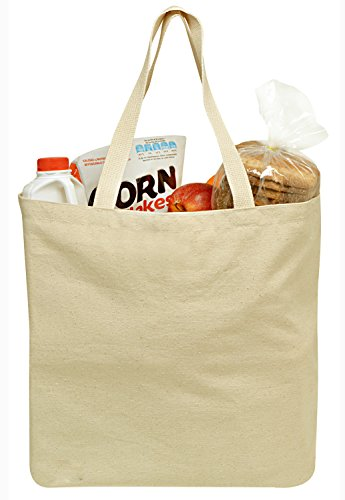 Reusable Grocery Canvas Bag, 19' x 15' - Durable with double stitch and two sturdy shoulder straps to handle heavy groceries. Canvas tote grocery bags, an eco-friendly solution for grocery shopping.
