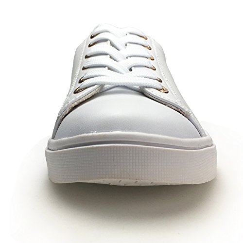 Sneakers Patent UP Leather XiaoYouYu White Skateboard PU Comfortable Women's Lace Shoes wqCPw56Y