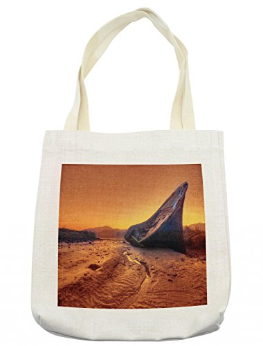 Lunarable Shipwreck Tote Bag, Old Fishing Boat Washed Up on Shore Hulk Disaster Misfortune at Dawn Maritime Theme, Cloth Linen Reusable Bag for Shopping Groceries Books Beach Travel & More, (Female Hulk Costume Ideas)